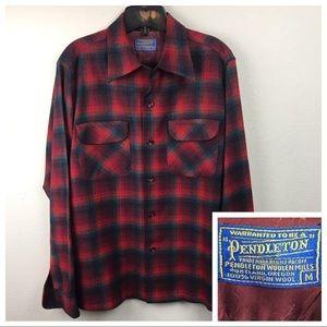 VTG Pendleton Woolrich Red Plaid Board Shirt Med